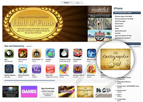 The Cartographer featured on the App Store